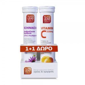 Vitorgan NutraLead Εχινάκεια με Βιταμίνη C & Ψευδάργυρο 20 Αναβράζοντα Δισκία & ΔΩΡΟ Βιταμίνη C 550mg 20 Αναβράζοντα Δισκία